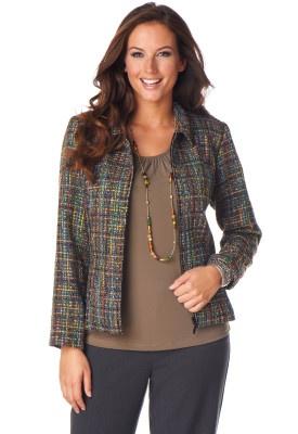 Multi Color Zip Up Boucle Jacket - Christopher & Banks