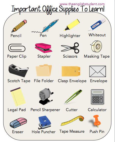 office supplies, ESL vocabularies, ESL, English vocabulary