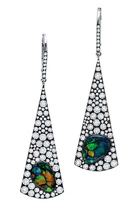 Triangle Shaped Black Opal & Diamond Pave Drop Earrings #jewelry…