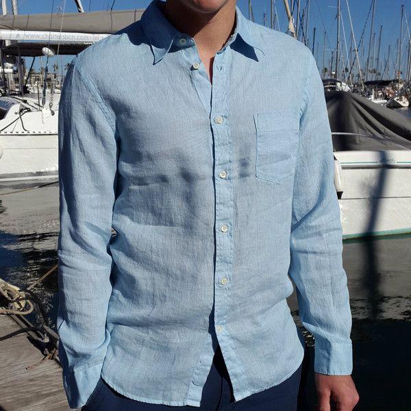 14 best edelino mens linen fashion images on pinterest for Mens light blue linen shirt