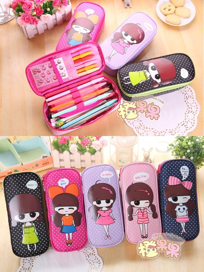kawaii school cute pencil case large capacity canvas pencil case for girls pen case stationery  kawaii pencil case for girl