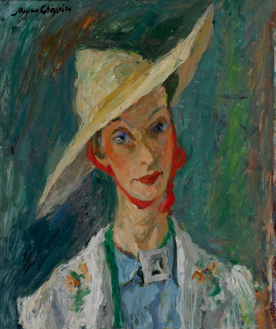 Jacques Chapiro Woman with a Hat, Oil on board, cm
