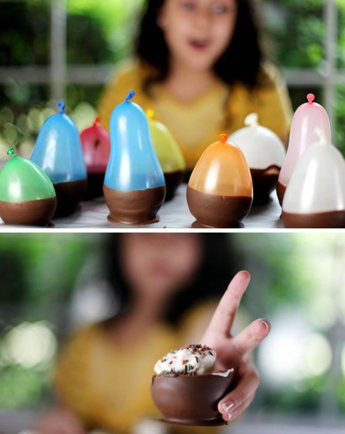 chocolate bowls made using balloons.