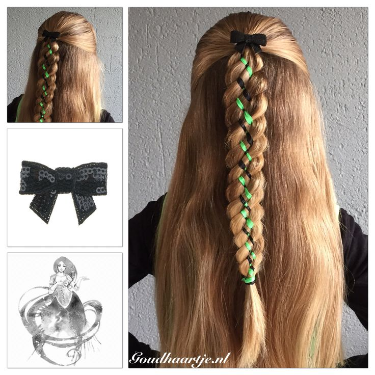Six strand ribbon braid with a little bow from Goudhaartje.nl      #6strandbraid #ribbonbraid #ribbon #braid #braids #halfup #halfupdo #hairideas #coolhair  #hair #hairstyle #hairinspiration #hairaccessories #haar #vlecht #haarstijl #haaraccessoires #vlechten #beautifulhair #longhair #mooihaar #langhaar #goud