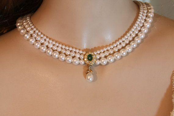 Wedding Pearls Necklace Real Stone Emerald Bridal Green Gem Bride necklace Genuine Pearls Crystals Rhinestone Gold Bridal Necklace Goldfield
