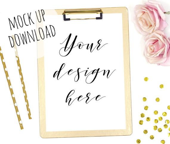 Gold Clipboard Mockup Styled Mock Up Photography for Shops