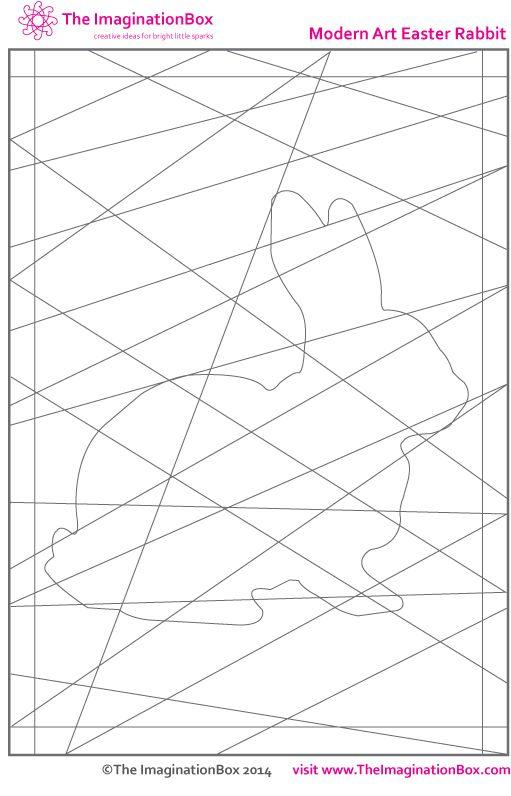 'hidde' modern art easter rabbit - free template to download