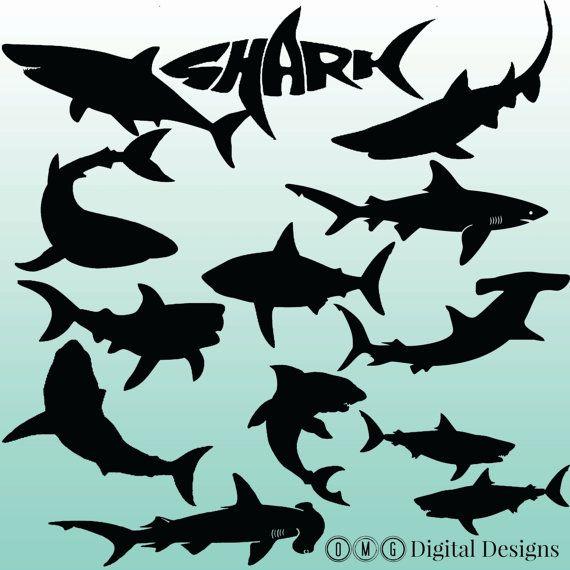 12 Shark Silhouette Digital Cliparts Clipart von OMGDIGITALDESIGNS