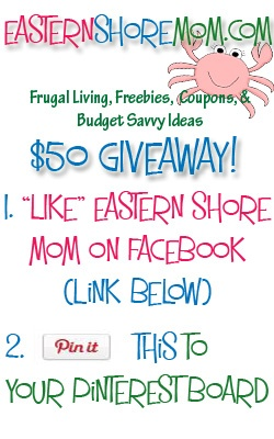 """AFTER YOU REPIN CLICK ON THE PIN & COMMENT BELOW SAYING YOU HAVE ENTERED THE GIVEAWAY. THERE ARE TOO MANY PINS TO TRACK THEM ALL. THANKS! Giveaway Sponsored By: www.easternshoremom.com (Pinterest is not a sponsor in this giveaway in any way)    1. LIKE EasternShoreMom.com on Facebook- https://www.facebook.com/EasternShoreMom    2. """"Repin"""" this PIN to your Pinterest Board!    ***For details about the giveaway click on the pin to go to the GIVEAWAY post on EasternShoreMom.com!**"""