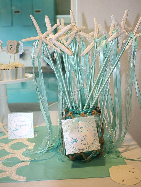 Mermaid Birthday Wand Starfish/Beach Wedding Decor/Bridesmaid