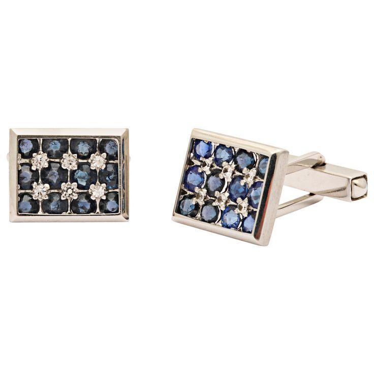 1960s Lucien Piccard Sapphire Diamond Gold Cufflinks