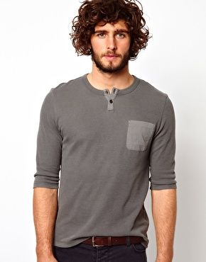 ASOS Sleeve T-Shirt With Grandad Neck And Waffle Jersey $32.62