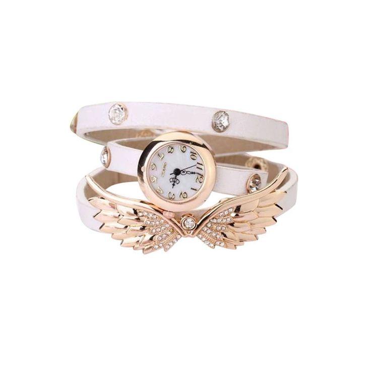 Bluelans Womens Angel Wings Rhinestone White Leather Strap Watch (Intl) | Lazada.vn