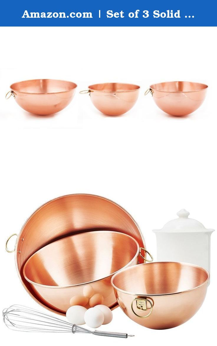 Amazon.com | Set of 3 Solid copper beating bowls (2 Qt, 41/2 Qt, 5 Qt.): Mixing Bowls: Bowls. Solid Copper beating bowls have long been valued by professional chefs and bakers for their special properties: A chemical reaction with the copper allows you to beat up to a third more volume into egg whites, resulting in lighter cakes and fluffier chiffon.