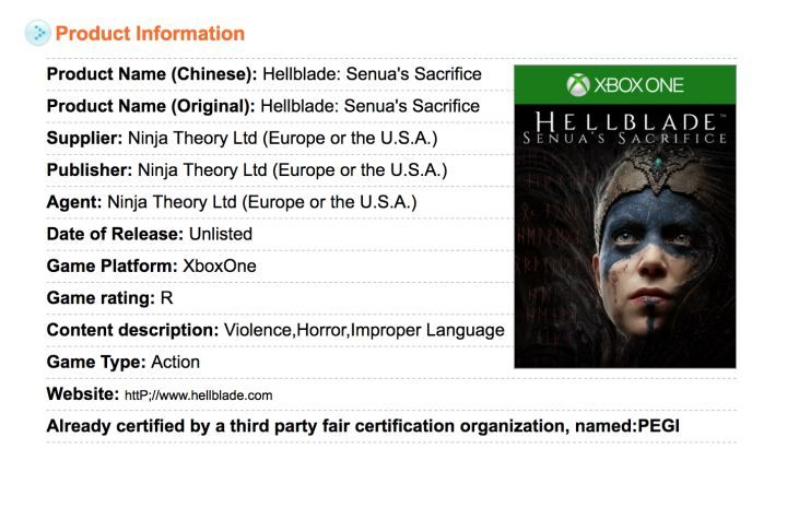 "Hellblade: Senua's Sacrifice Could Be Coming to Xbox One  Hellblade: Senua's Sacrifice reportedly has been rated for Xbox One by Taiwan'sGame Software Ratings board.  The listing (first spotted by Reddit userkokokko416) shows an ""unlisted"" release date for the unconfirmed port as well as its potential box art.   Hellblade's Xbox One rating (via Taiwan's Game Software Ratings board)  Continue reading  https://www.youtube.com/user/ScottDogGaming @scottdoggaming"