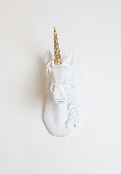 White Unicorn Head with Gold Glitter - GoGetGlam  - 1