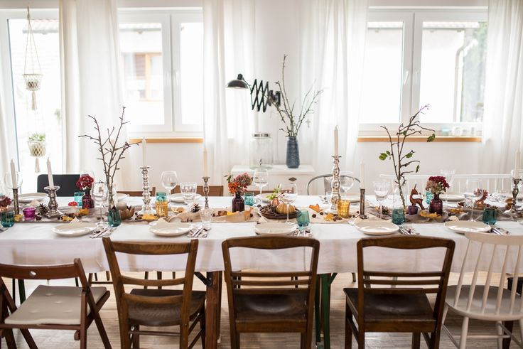 Herbstdeko Aus Dem Wald : Herbstliche Party Tischdeko im Boho vintage ...