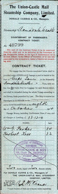 Steamship Ticket Record - Union-Castle Mail Steamship Company, Limited 1904 1904-10-08 Steamship Ticket Record - Union-Castle Mail Steamship Company, Limited - Counterpart of Steerage Passenger's Contract Ticket, R.M.S. Arundale Castle, Southampton to Cape Town.
