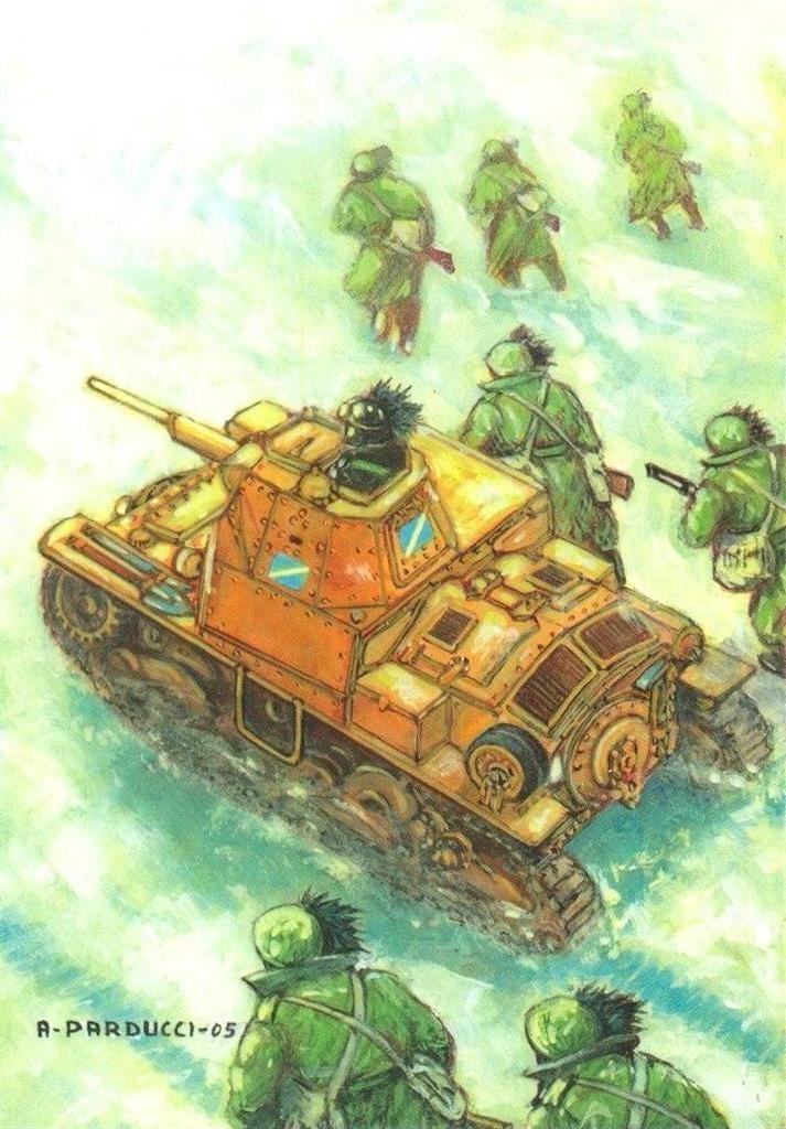 Regio Esercito - FRONTE  RUSSO  -  DICEMBRE 1942  - Reparti di Bersaglieri appoggiati da alcuni carri L 6/40 del LXII Battaglione Corazzato contrattaccano vittoriosamente forti nuclei nemici infiltratisi nelle nostre linee