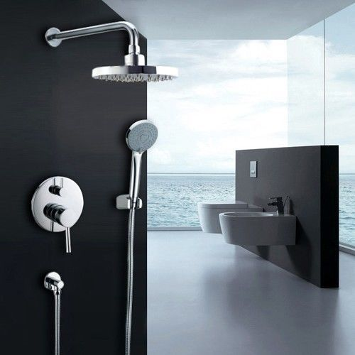 New Wall Mount Waterfall Rainfall Shower System Wand Hand Shower Head Valve Set #Unbranded