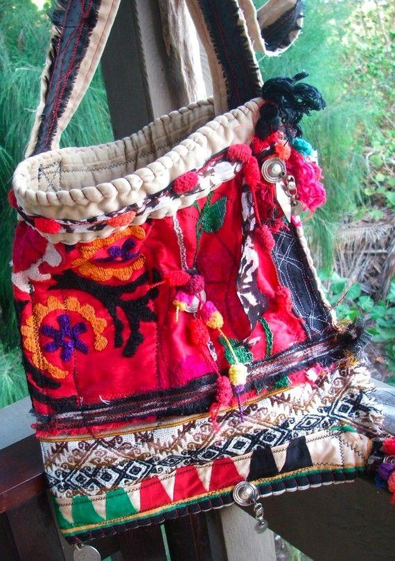 BOHO SUZANI Slouch  vintage upcycled ethnic ooak  by nomadicbags, $135.00