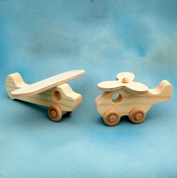Wooden Toy Airplane and Helicopter Play Set - Fun Wood Toys for Children and Toddlers