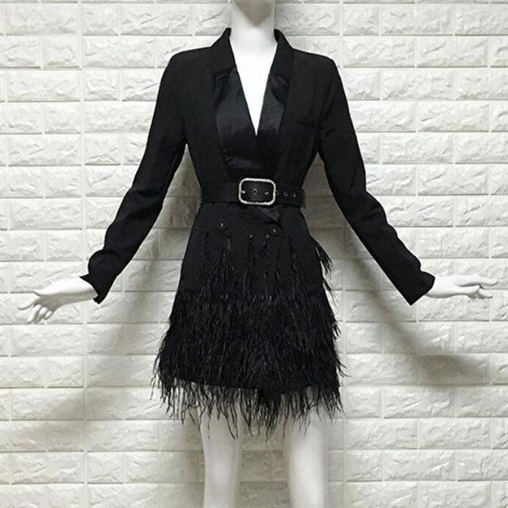 2018 Autumn Women Suit Jacket Fashion Feathers Patchwork Blazer Feminino Belted ... 2