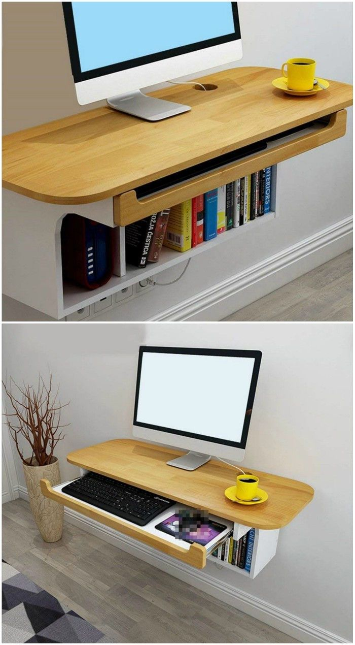 12 Floating Desks That Look Great And Take Up Minimal Space Diy Bookshelf Wall Bookshelves Diy Wall Bookshelves