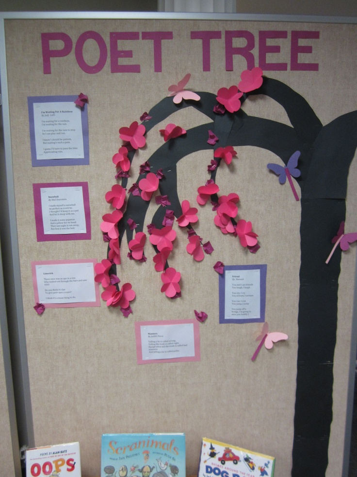 for April, poetry month. The poems on the board were funny kids poems, and displayed with poetry books. I started with dark pink buds, then added opening flowers as the month went on. The books went fast.