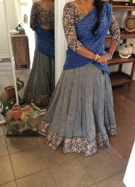 Kalamkari grey tribal gopi skirt with readymade blouse and blue dupatta_Tribhangi_Etsy