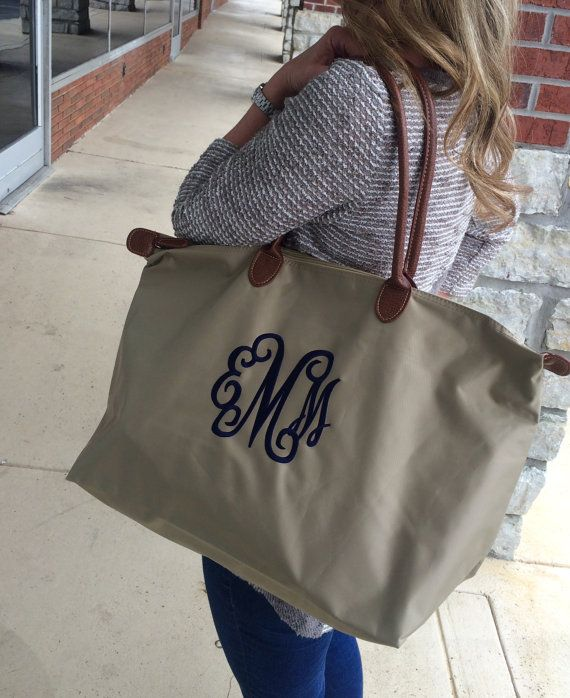 Taupe Khaki Champ Tote Bag Large Monogram Font shown INTERLOCKING in navy