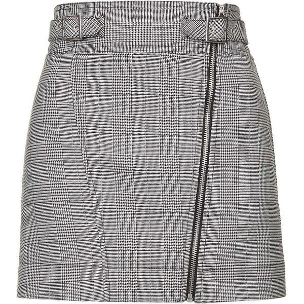 TOPSHOP Checked Biker Mini Skirt (1,190 MXN) ❤ liked on Polyvore featuring skirts, mini skirts, monochrome, short a line skirt, topshop skirts, a line skirt, checkered skirt and women skirts