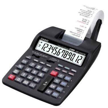CALCULADORA CASIO HR-100 TM-BK -  Características:  -12 dígitos  -2.0 lin/seg  -Imprime em 2 cores  -Teclas Custo/ Margem/ Venda  -Tax+ e Tax-  -Memória independente  -Botão duplo-zero  -Big Display  -Sub-total / Total  -Tecla GT  -Contador de itens  -Seletor decimal  -Teclas de plástico  -Rolete: IR-40T  -Bobina: 58mm  Dimensões aproximadas: 6,7x16,5x28,5cm  Peso aproximado: 520g.