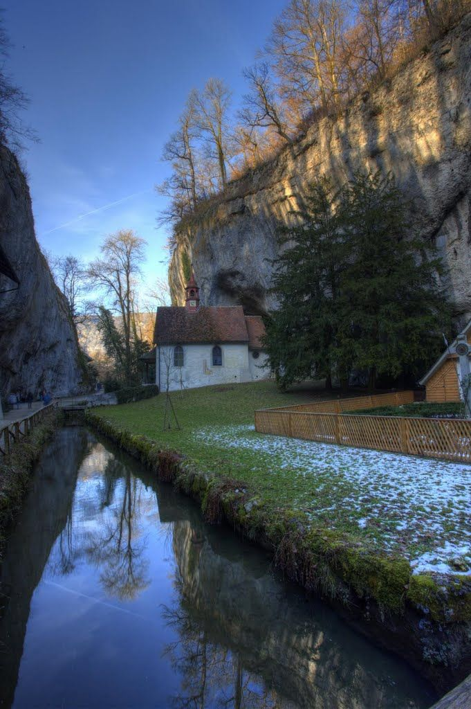 Einsiedelei (Hermitage), Verenaschlucht, Solothurn. Took a 5 1/2 mile walk today through a beautiful limestone ravine that housed a hermitage, small church, and abby?