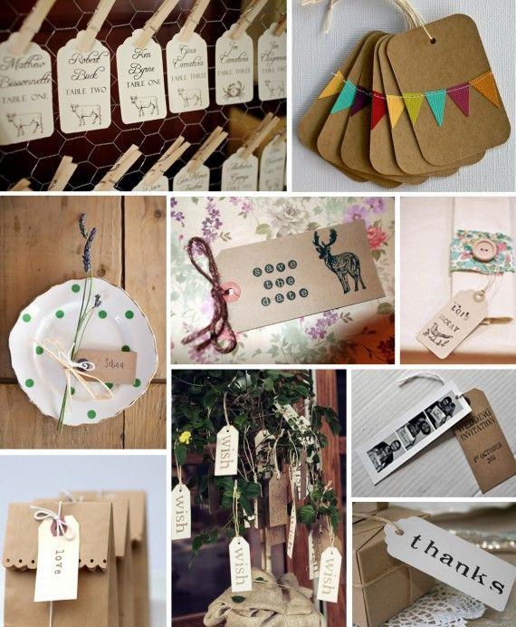 We just love a luggage tag! Both economical and eco-friendly, they will bring individualism to your day. Stamped and threaded as you please, they can be used to create anything from a unique table plan to a striking wish tree. We've picked out some of our favourite ideas..