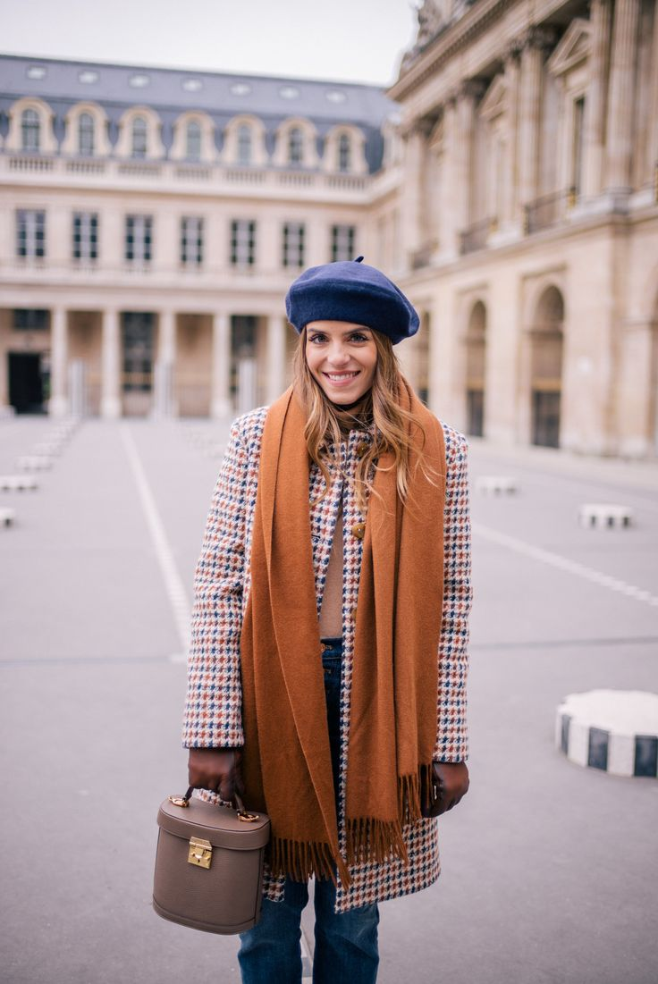 Gal Meets Glam A Parisian Look APC coat, Vince turtleneck, J.Crew jeans, Max Mara scarf, Mark Cross bag & Beret