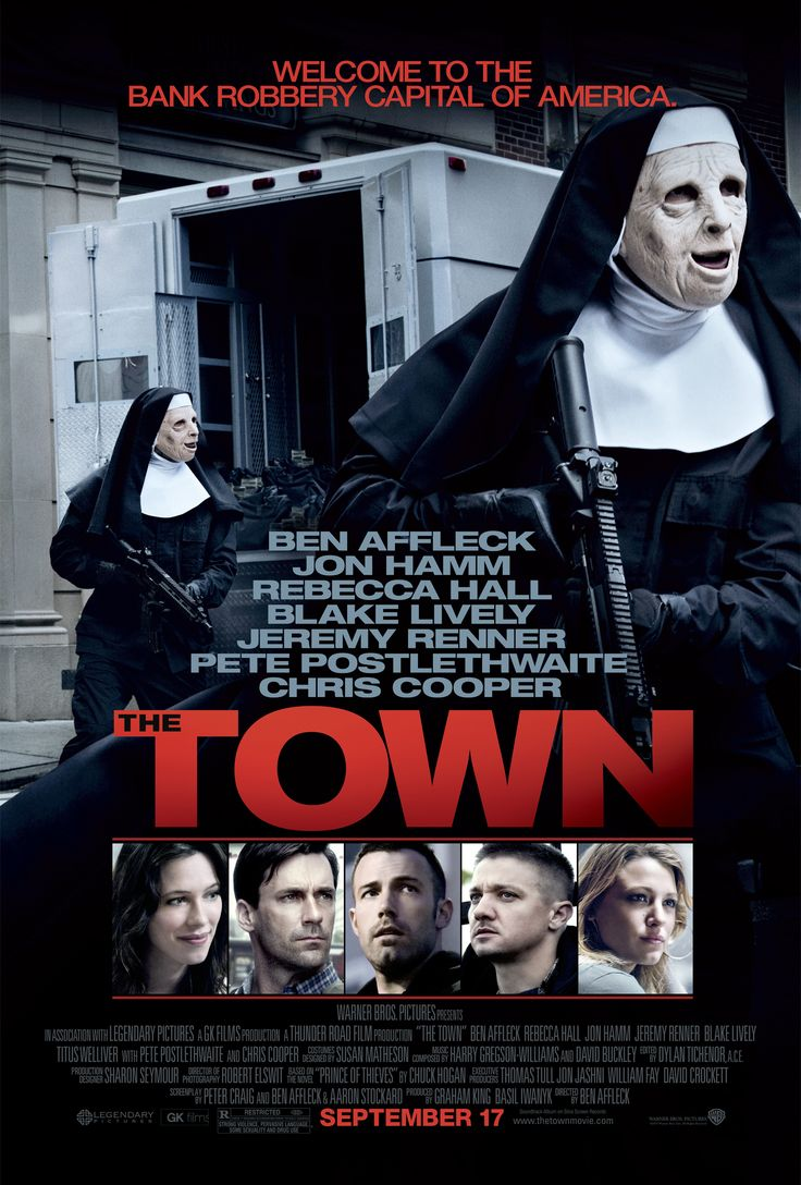 """The Town"" movie poster, 2010.  Thanks in large part to the Oscar nominated performance of Jeremy Renner and the well-directed action sequences, this movie was a surprise hit and prompted Warner Brothers to offer Affleck a chance to produce several movies for them."