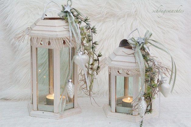 Weihnachtsdeko - 2 Laternen Weiß - ein Designerstück von schoengemachtes- bei DaWanda