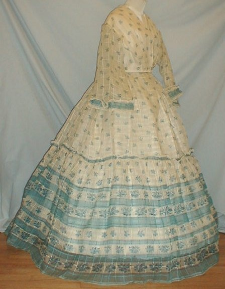1860s extant sheer gown -beautiful color borders & prints
