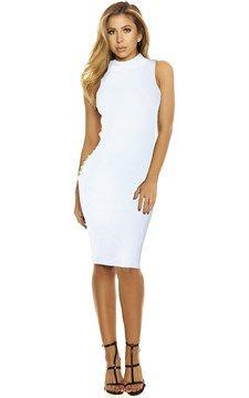 Sleeveless High Collar Dress White