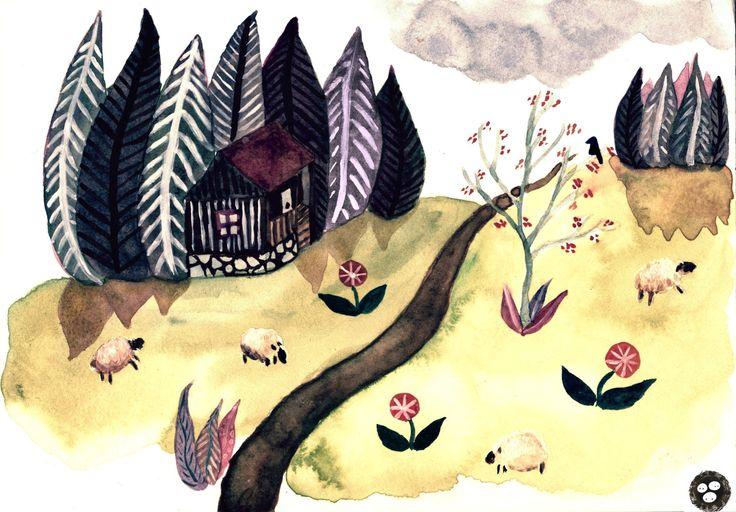 Větrov, Krušné hory (watercolors)   Sova Hůová