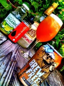IPA-rita: 2 oz tequila, 1 oz lime, 1T agave shaken with ice, no strain into iced tea goblet, top with ~6 oz good IPA.