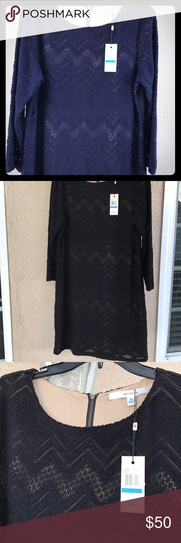 💃🏼💃🏼 Flattering Black Chevron Lace Dress 💃🏼 Beautiful ❤️Studio M women's XL Black Midi Lace Dress.Great for any occasion.Fully lined New with tags..🖤It's more Beautiful in person.. M.STUDIO Dresses Midi