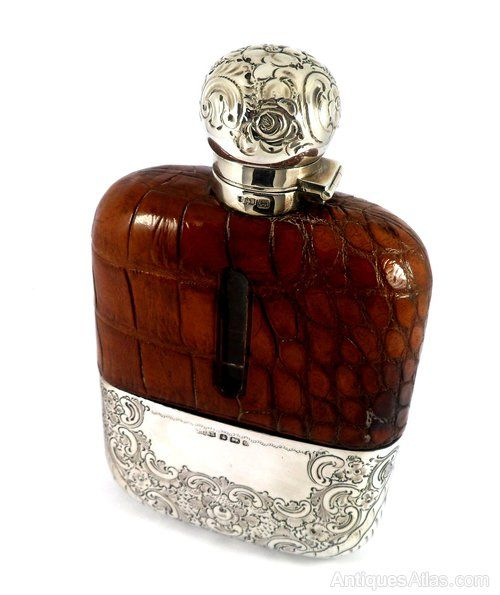 Antiques Atlas - STUNNING ANTIQUE SOLID SILVER HIP FLASK 1895
