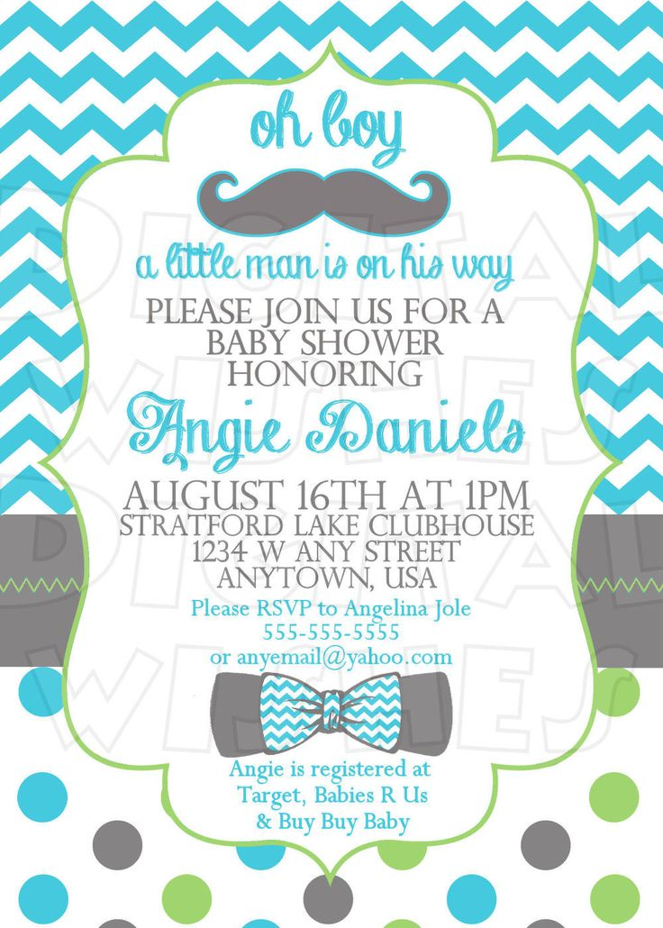 little mr with chevron bow tie and mustache baby shower invitation digital file