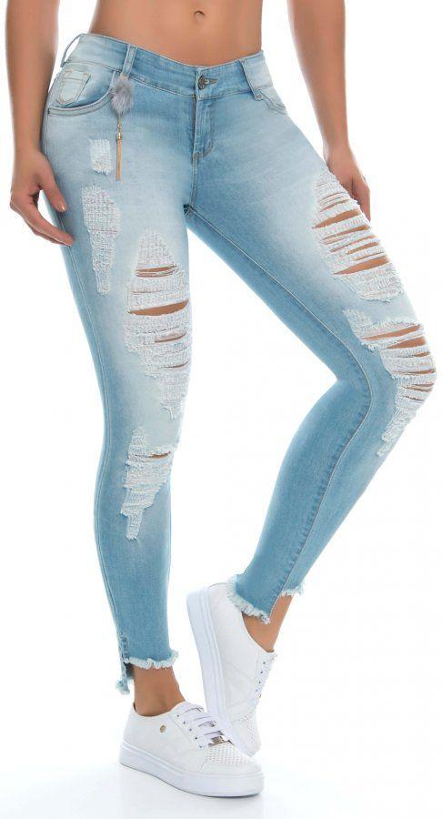 Jeans Levanta Cola Nye 21149 Azul Jeans De Moda Pantalones De Moda Pantalones De Mezclilla Mujer