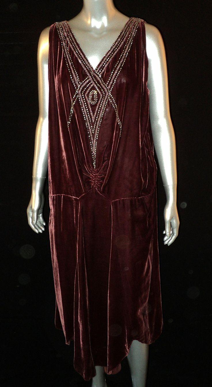 Art Deco Period Silk Velvet Gown Party Dress Boardwalk Empire Large Size Rhinestone 1920s. via Etsy.