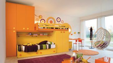 Bedroom: Modern Kids Bedroom Accent Wall Ideas With Unique Wicker Swings Orange And Yellow Furniture Paint Colours Bunk Bed And Cabinets White Curtain Red Rugs Over Carpet Plus Laminated Floor from 5 Tips to Choose Kids Bedroom Furniture