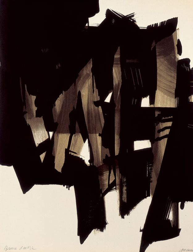 """Lithographie n°15"" (1964), by Pierre Soulages. Paint on 4 boards; Private collection."