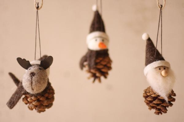 felted cone ornaments